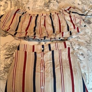 2 Piece Striped Skirt and Top Size S